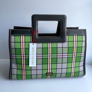 Frances Valentine Pink and Green Plaid Tote
